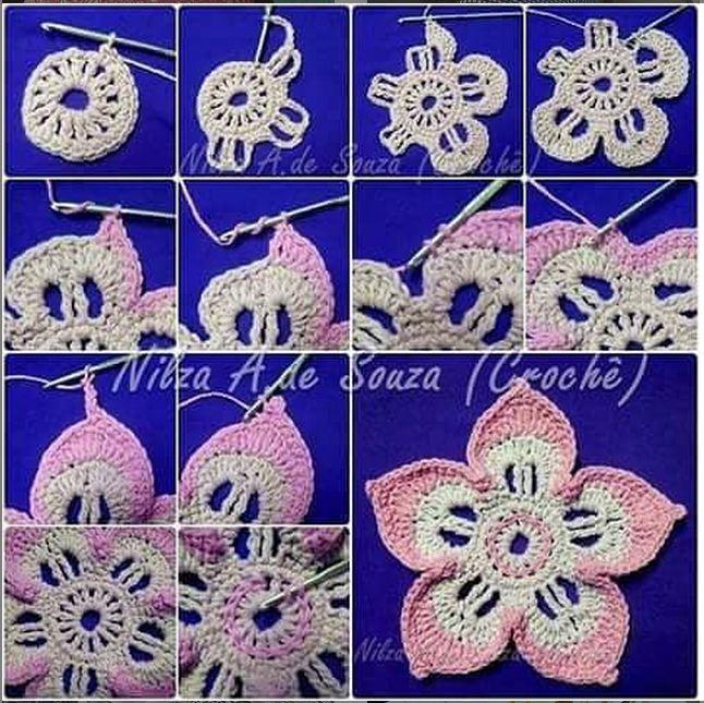 Paso a paso en fotos de flor crochet