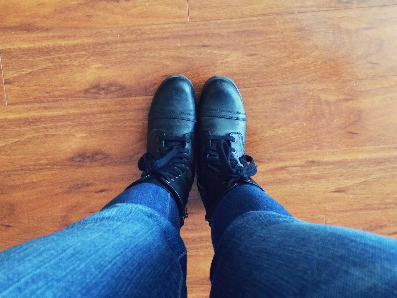 combat boots and jeans