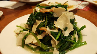 Din Tai Fung Stir Fried Spinach served with Tofu Sheets Taiwan