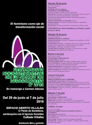 8ª edición de la Universidad Socioambiental de la sierra de Guadarrama, dedicada al feminismo