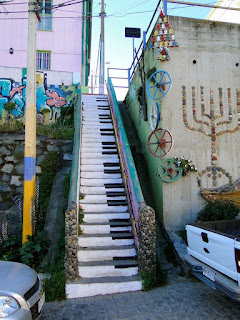 Valparaiso Şili Piyano Merdivenler