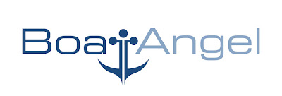 Boat Angel logo, where the t in boat is an anchor below the other letters