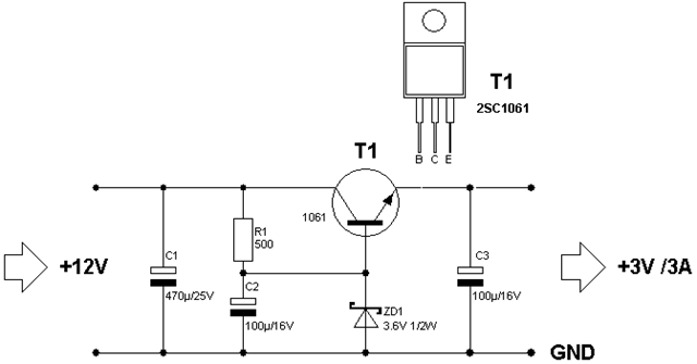 nte electronics circuit  power supply from 12v to 3v 3a