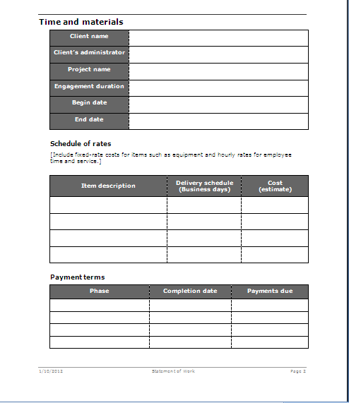 Statement of Work Templates
