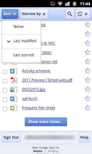 Google Drive mobile web app