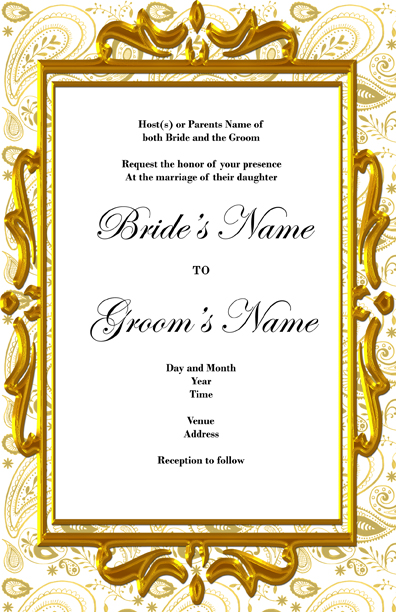 Summers's blog: Paisley background and an elegant golden frame this wedding invitation will