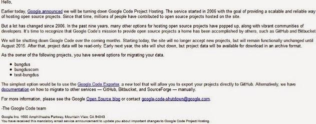 google code akan di nonaktifkan