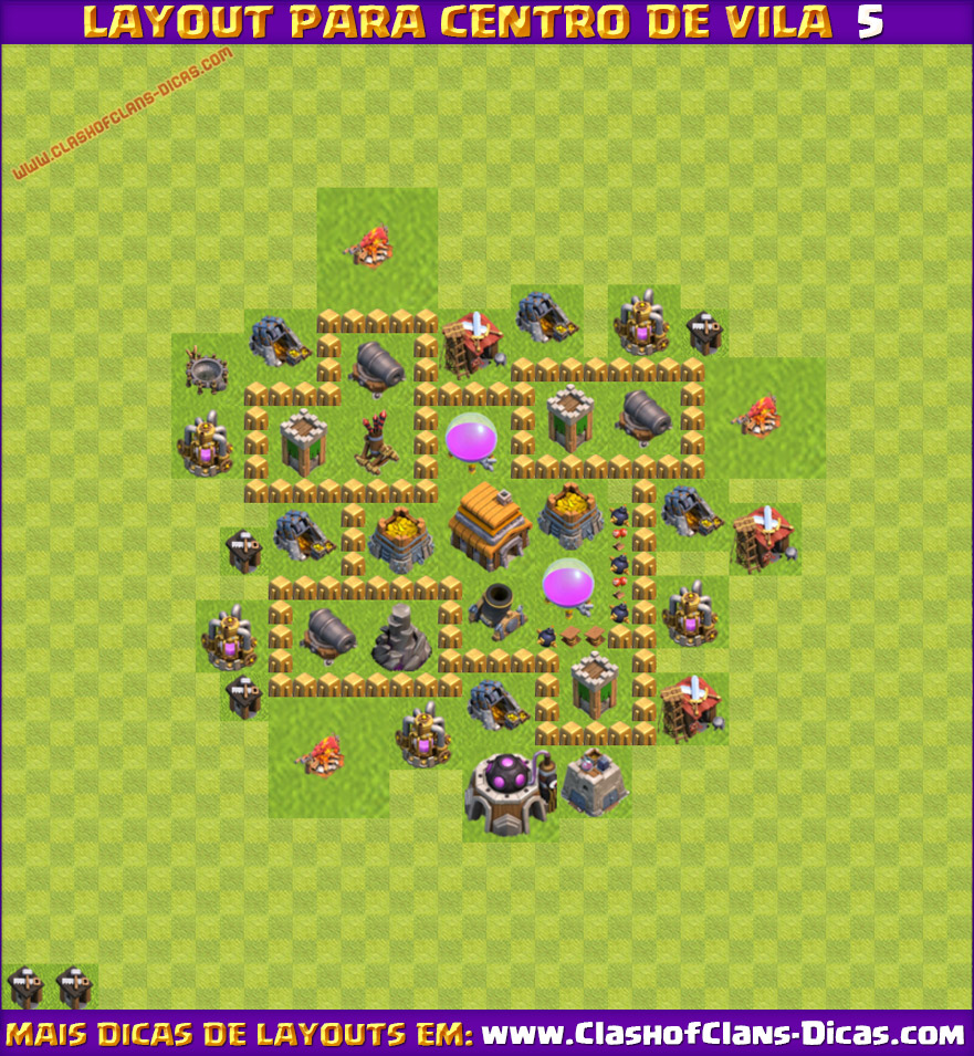 melhores layouts para centro de vila 5 clash of clans clash of clans dicas - Layout Cv 4 Clash Of Clans