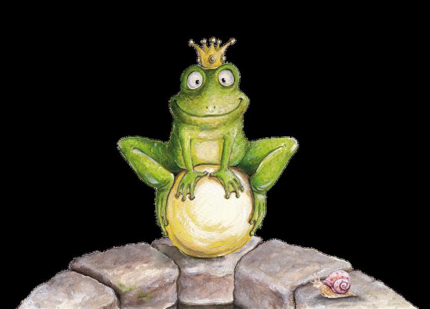 Froschkönig, Kinderbuchillustration, Märchenfigur, Vignette