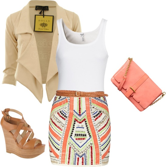 White thick-strapped singlet, multicolored tribal-printed tight-fitting miniskirt, nude blazer and tan thatched sandals for ladies