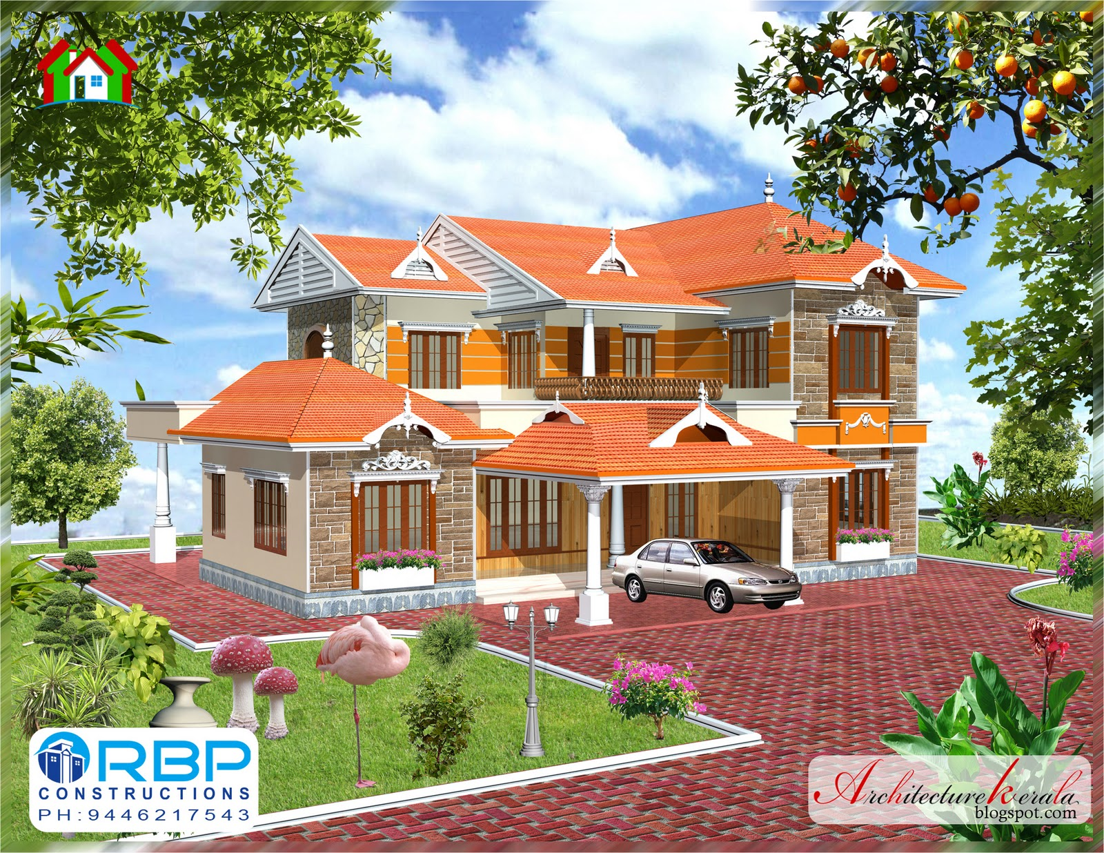 Architecture kerala 5 bhk traditional style kerala house for Elevation of kerala homes