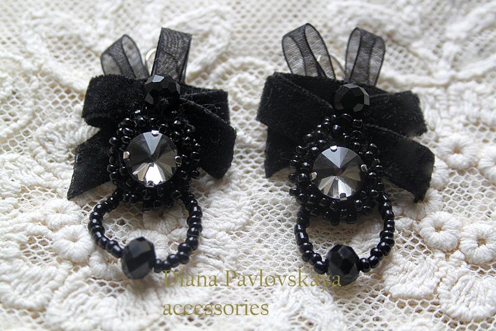 черные дизайнерские сережки