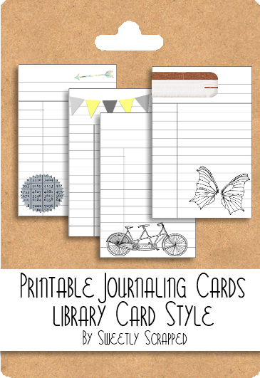 sweetly scrapped printable library style journaling cards