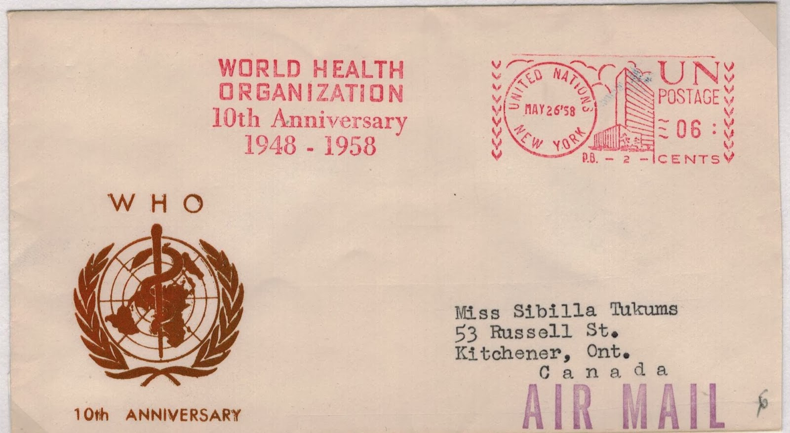 Postal history corner world health organization new headquarters the world health organization who headquartered in geneva switzerland was founded in 1948 as a specialized agency of the united nations serving as biocorpaavc