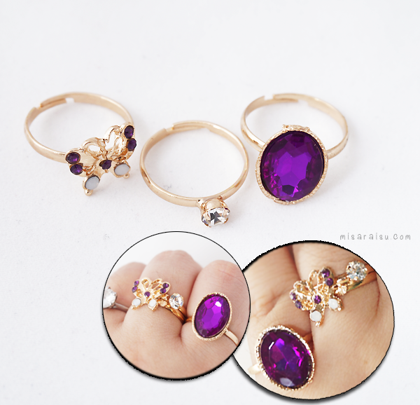 butterfly purple gemstone ring