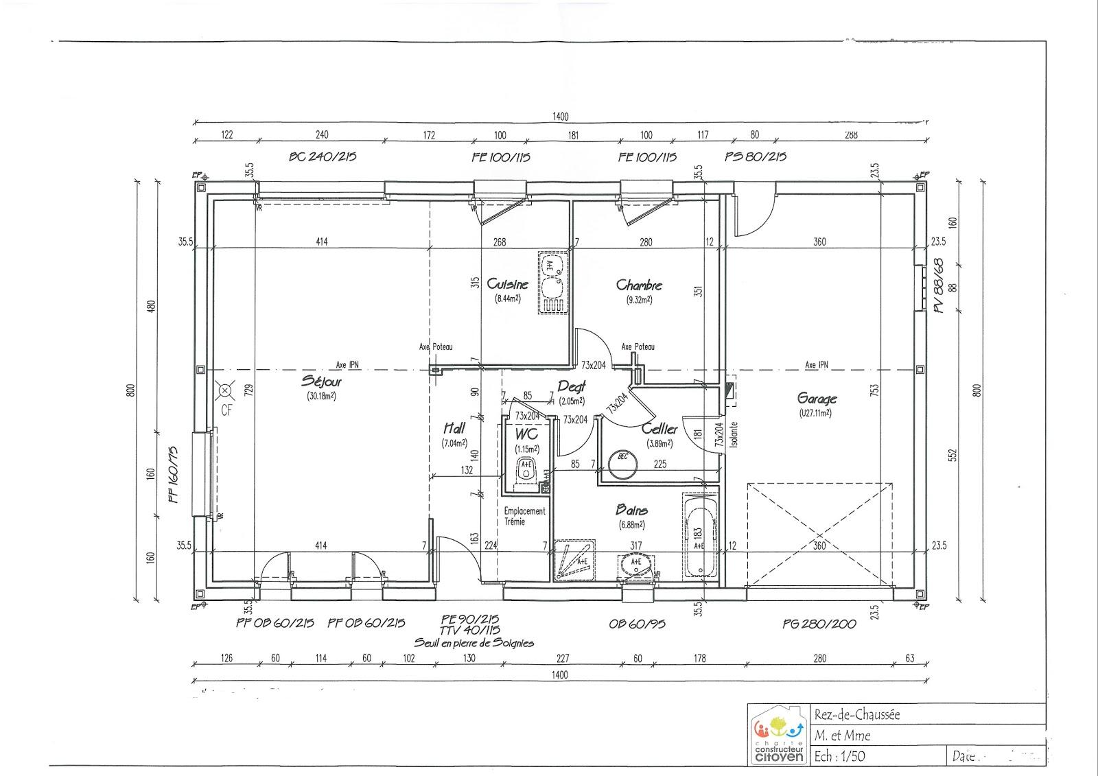 Notre maison bousies plans de la maison rez de chauss e et tage - Plan de maison rez de chaussee ...