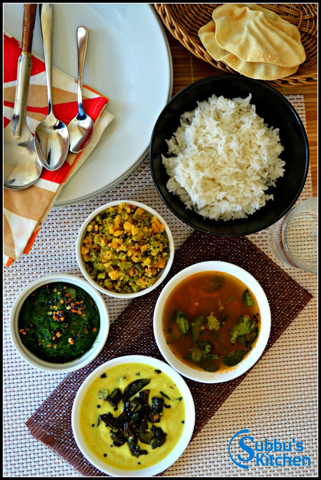 South Indian Lunch Menu 2 - Mor Kuzhambu, Kalyana Rasam, Paruppu Usuli and Keerai Masiyal