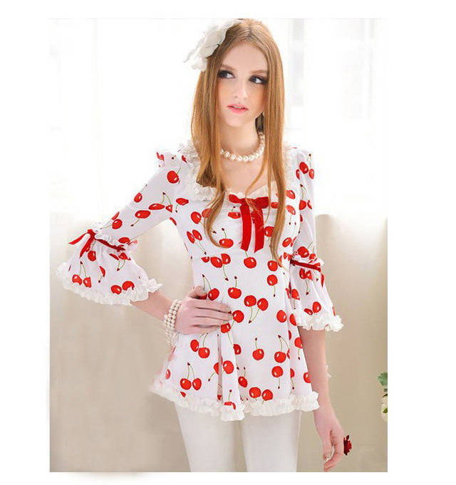 Busana: Dress Buah Cherry Putih (BSF-253)