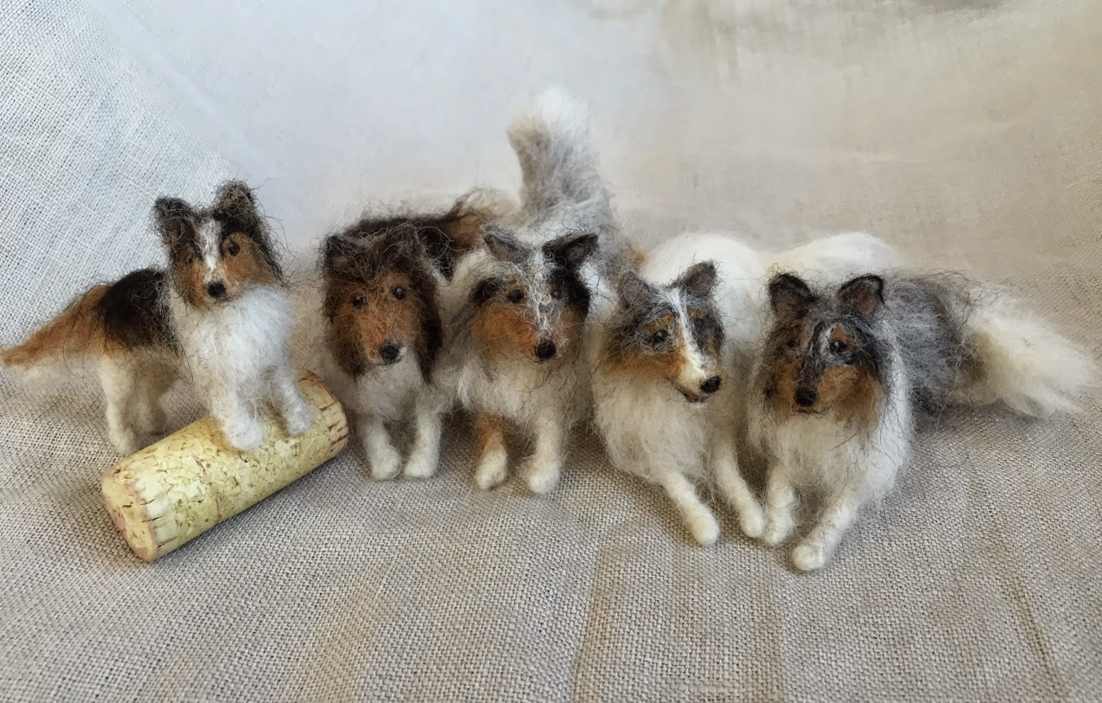 Needle felted miniature collies and shelties
