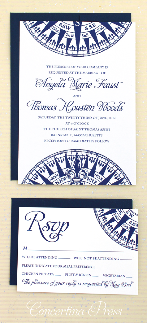 Navy Blue Compass Wedding Invitation by Concertina Press