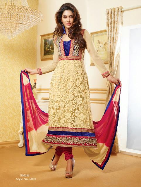 New Designer Net Brasso Long Salwar Kameez