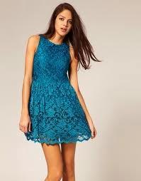 vestido encaje azul corto