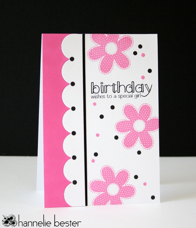 Girly birthday card with border die