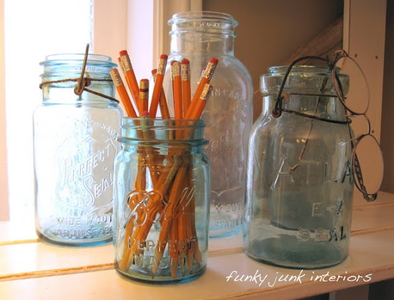 Mason jars in home office via Funky Junk Interiors
