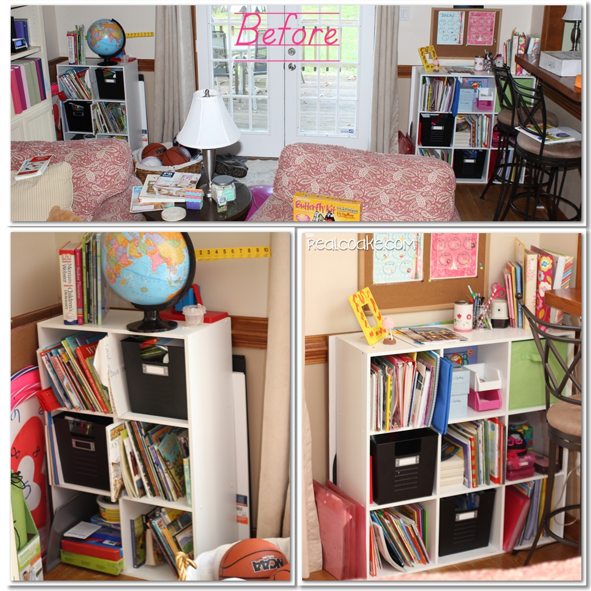 Living Room Organization homeschool organization ~our newly organized school 'room'