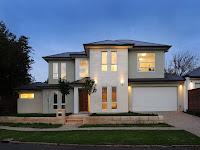 Foto de fachada de casa moderna con ventanas rectangulares