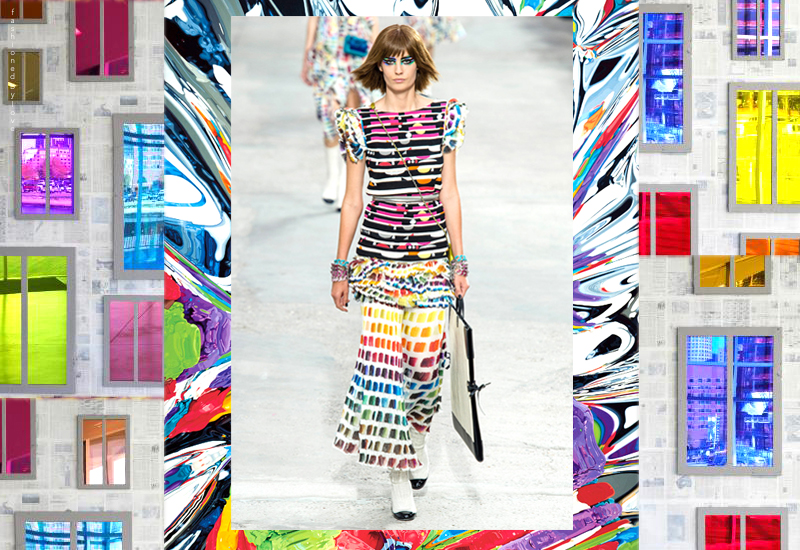 For his Spring 2014 collection Lagerfeld dreamed dresses inspired by Jeff Koons and Ugo Rondinone