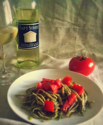 Linguine with Pesto paired with Taft Street Sauvignon Blanc for #winePW.