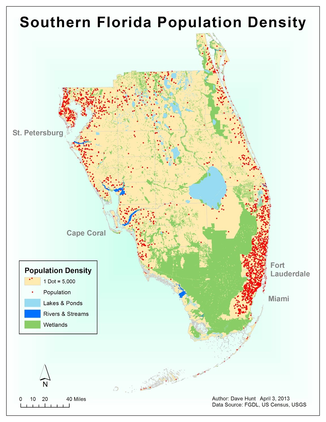 this lab focused on creating dot maps this map shows the population densities of southern florida according to data from the 2000 us census