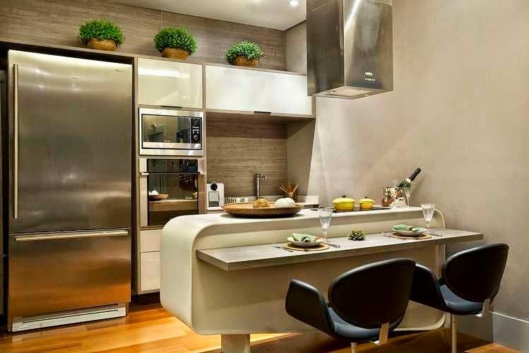decorar cozinha moderna:18- Cozinha pequena branca suspensa com laca alto brilho! Bancada com