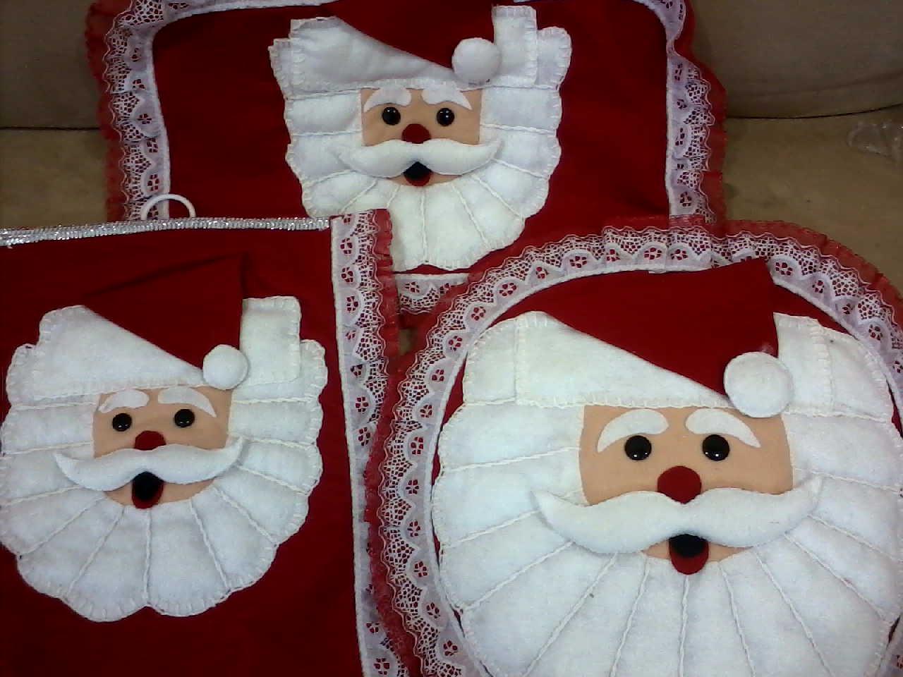 """Juegos De Baño De Santa Claus En Fieltro: Manualidades """"Chayito"""": juego de baño de santa claus tres piezas"""