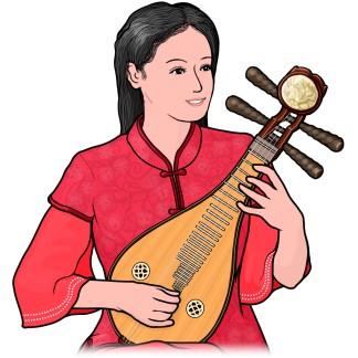 リウチンを演奏する女性のイラスト(柳琴 , りゅうきん , liuqin)