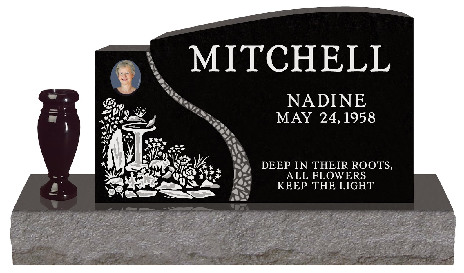 The headstone journal blog resources summit memorials ltd this headstone features a porcelain photograph flower vase and matching polished top base reviewsmspy