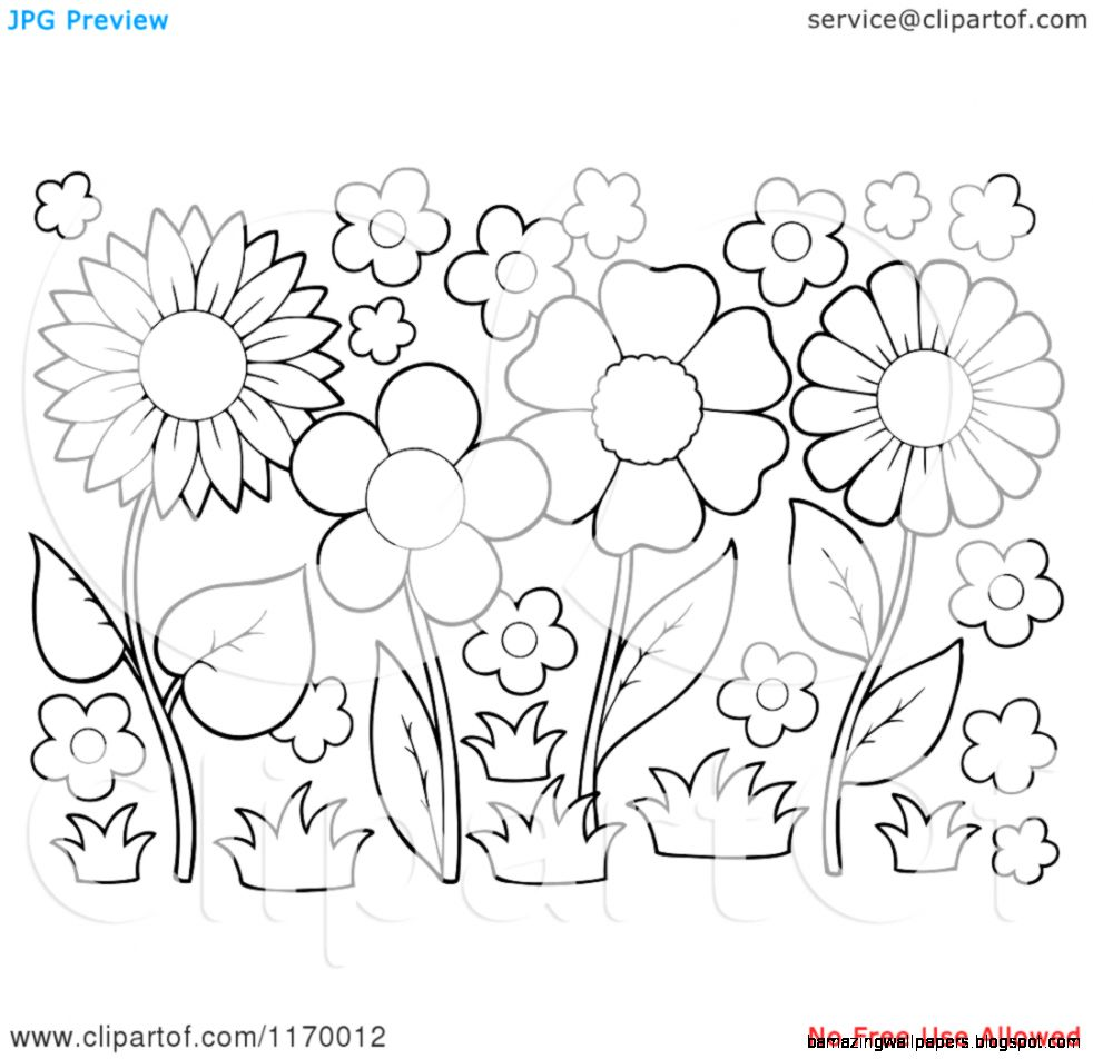 Flower Garden Clip Art Black And White Amazing Wallpapers