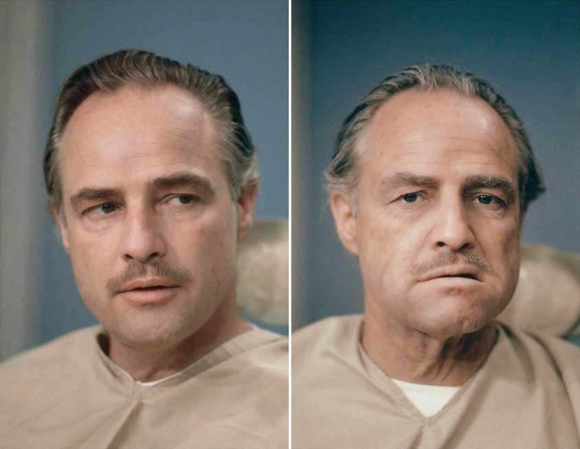 46 Unbelievable Photos That Will Shock You - Marlon Brando Before and After His Makeup Was Done for His Role in the Godfather