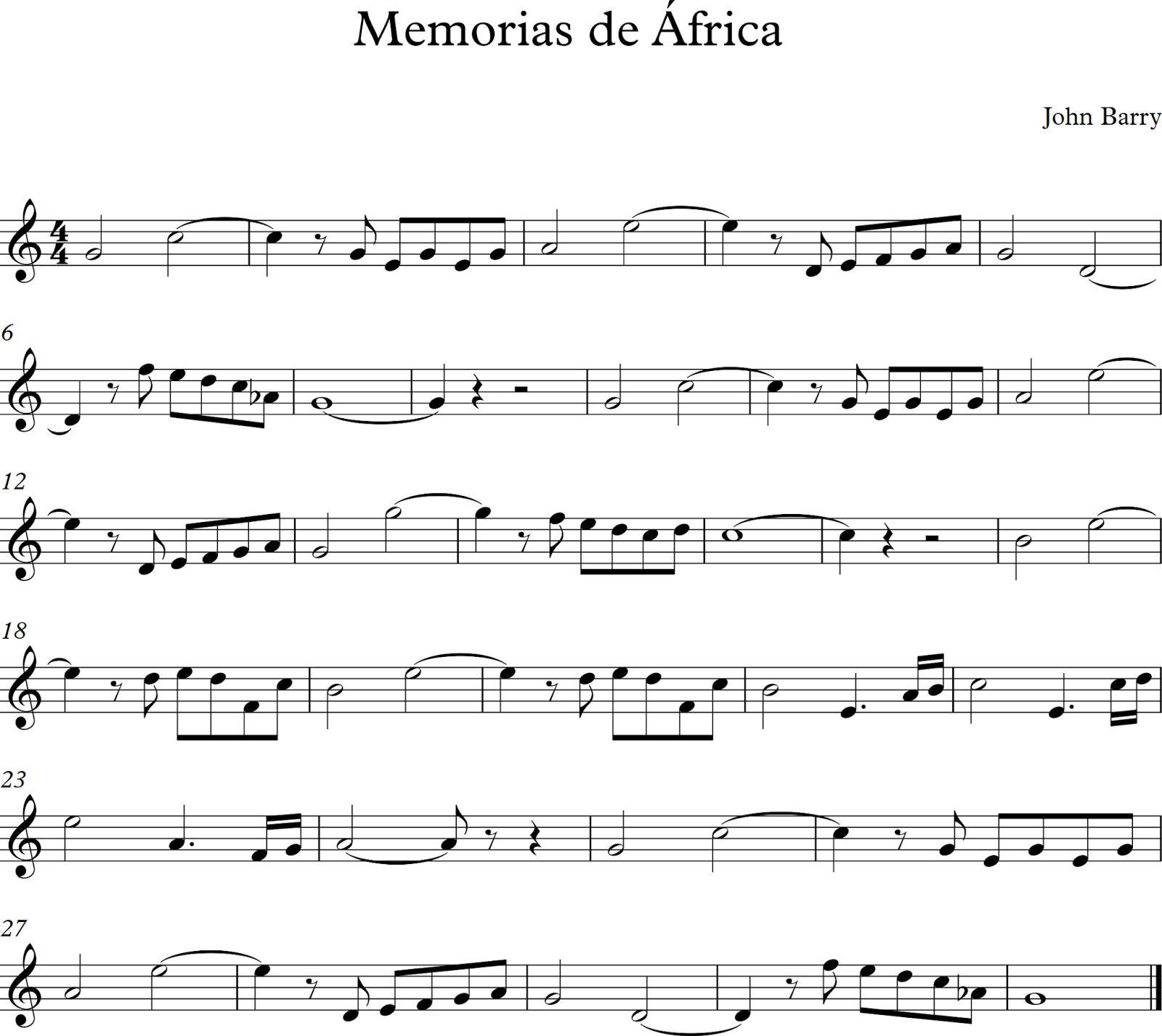 Descubriendo la m sica partituras para flauta dulce o de for Piani casa africani gratis