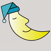 Moon with a sleeping cap - cartoon