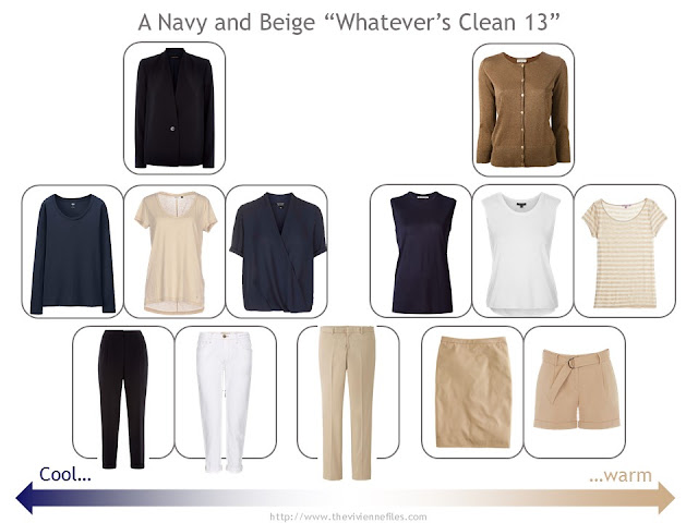 """Whatever's Clean 13"" wardrobe in navy, beige and white"