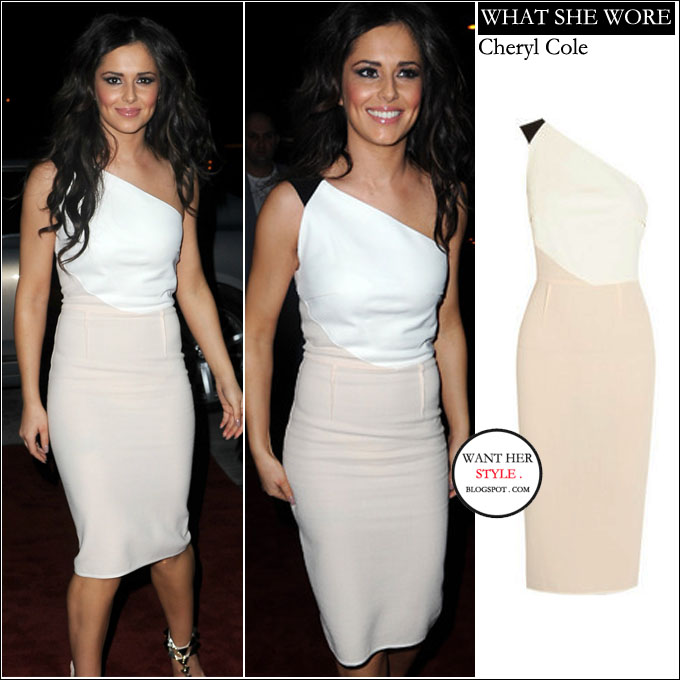 WHO  Cheryl Cole at the end of tour party in Manchester on March 20th 2013. WHAT  SHE WORE  two tone white and blush one shoulder Roland Mouret dress. BUY   ... e0a14272256