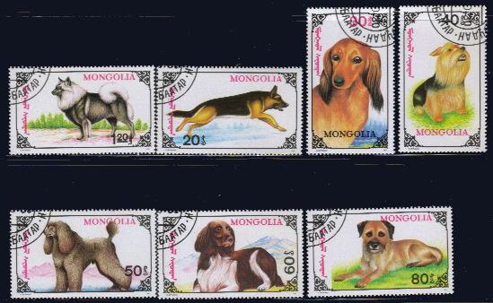 1991年モンゴル国 キースホンド ジャーマン・シェパード ダックスフンド ヨークシャー・テリア プードル スパニエル レオンベルガーの切手