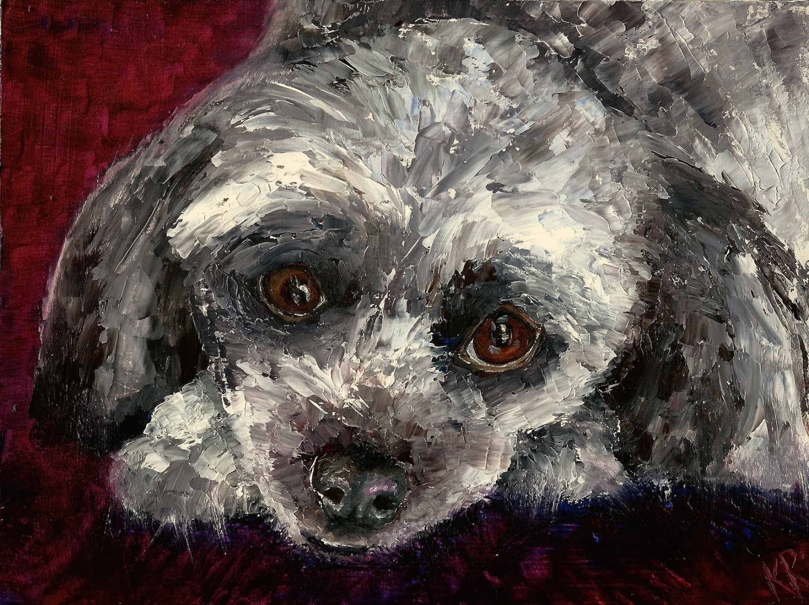 Old dogs are cute too, oil painting with a palette knife, poodle type dog, a pet portrait by karen