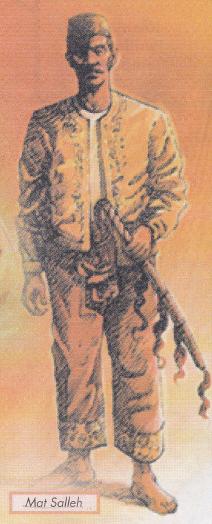 Gambar pahlawan terunggul negeri Sabah iaitu Datu Mohammad Salleh (Mat Salleh) yang sedang menggenggam Kalis Sundang dalam buku teks sejarah tingkatan 5. Mat Salleh adalah berketurunan Suluk dan Bajau manakala isterinya Dayang Bandang adalah seorang puteri daripada kerabat Kesultanan Sulu.