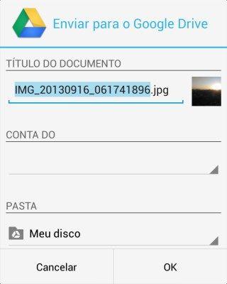 Enviar fotos para Google Drive - 320x400