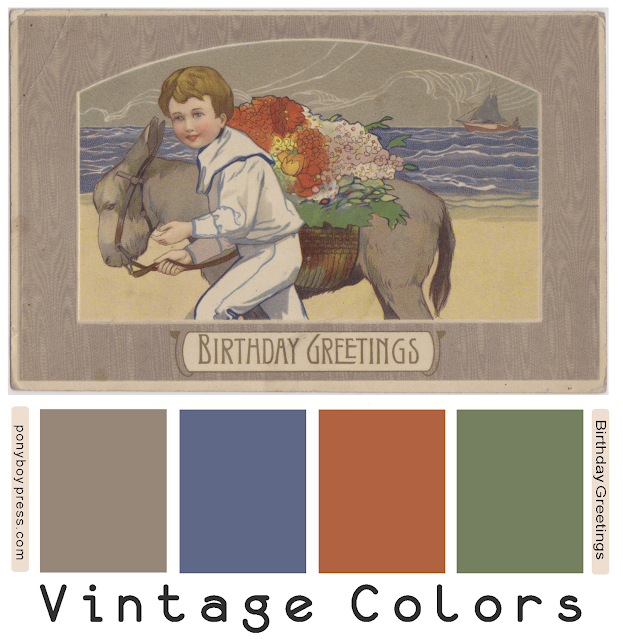 Vintage Color Palettes - Birthday greetings - hex colors on blog - Ponyboy Press