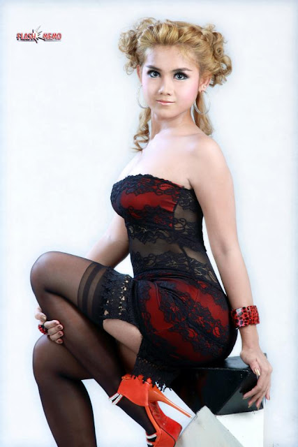 myanmar model girl with black sexy outfit thuzar mg