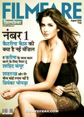 Katrina Kaif looking stunning in black strapless dress - Katrina Kaif on the cover of Filmfare Hindi